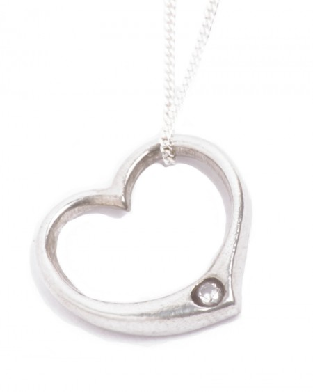 Open Heart Tin and Diamond Pendant