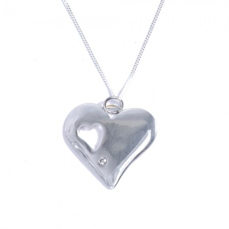 tin and diamond heart pendant