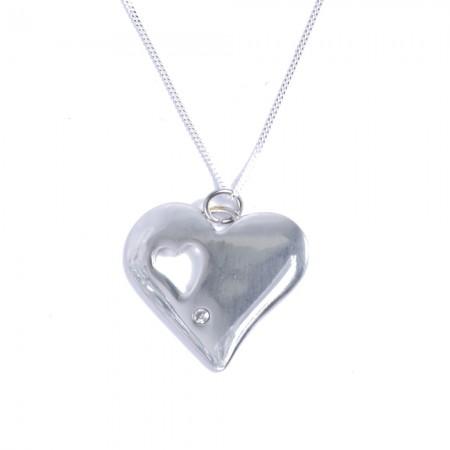 tin and diamond heart pendant