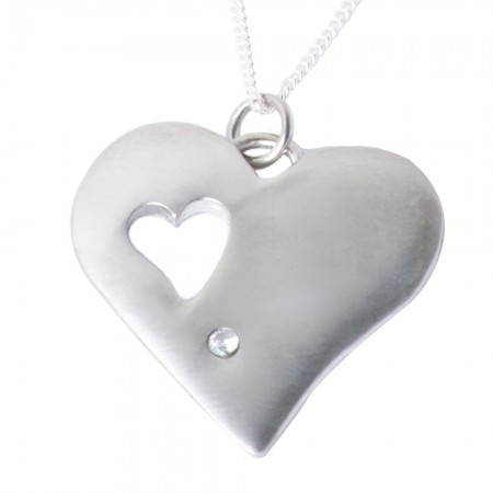 Tin Diamond Heart Pendant Matt Finish
