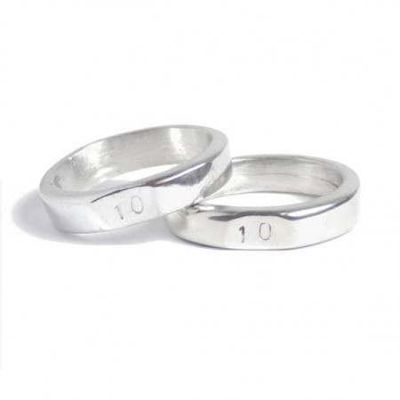 10 stamped him and her tin signet rings