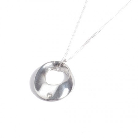 Tin and diamond hoop pendant
