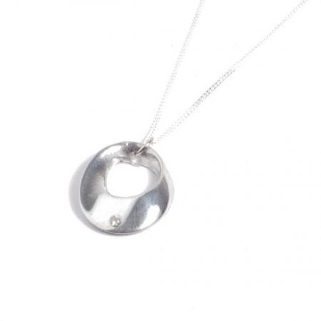 Tin and diamond hoop pendant