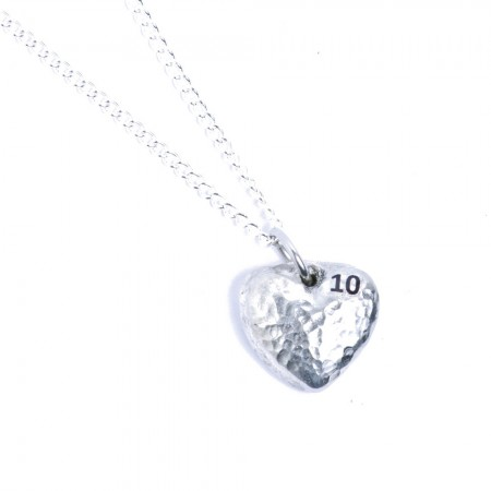 10th wedding anniversary tin heart pendant