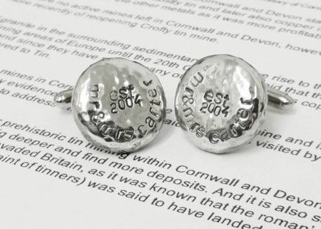 personalised mr and mrs est 2005 tin cufflinks