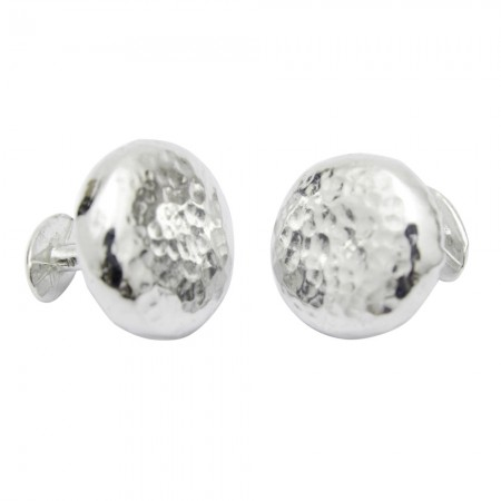 chunky round beaten tin cufflinks